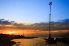 Alba nello stretto di Messina Fotografia Stock