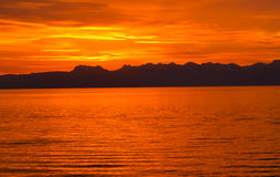 Alba in nuvole del lago nyon Svizzera Fotografia Stock Libera da Diritti