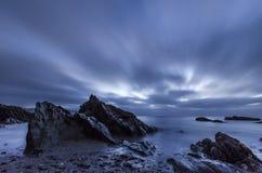 Alba nuvolosa di inverno del punto di Hannafore Immagine Stock