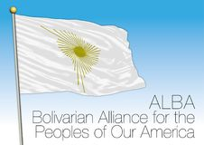 ALBA, Bolivarian Alliance for the Peoples of Our America flag and symbol. ALBA organization flag, vector illustration Royalty Free Stock Photos