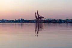 Alba a porto di Vancouver BC Immagini Stock