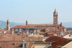 Alba rooftops with cathedral& x27;s view, Italy Stock Image