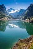 Alba sbalorditiva nel lago della montagna in Gosau, alpi, Austria Fotografie Stock Libere da Diritti
