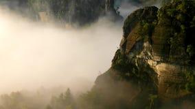 Alba soleggiata della molla in una bella valle del parco della Sassonia Svizzera Rocce dell'arenaria stock footage