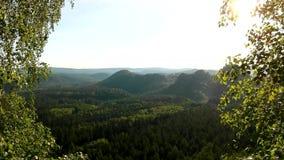 Alba soleggiata della molla in una bella valle del parco della Sassonia Svizzera Rocce dell'arenaria archivi video