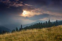Alba sopra i picchi della montagna fumosa con la vista della foresta nella priorità alta Fotografia Stock