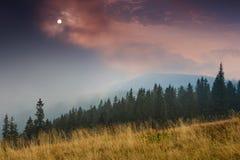 Alba sopra i picchi della montagna fumosa con la vista della foresta nella priorità alta Fotografie Stock