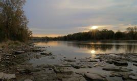 Alba sopra il fiume di Maumee Fotografie Stock Libere da Diritti