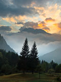 Alba sopra il francese Alpes Fotografia Stock Libera da Diritti