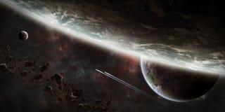 Alba sopra il gruppo di pianeti nello spazio royalty illustrazione gratis