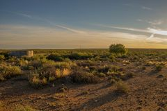 Alba sopra il karoo nel Sudafrica Fotografia Stock