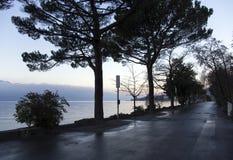 Alba sopra il lago Lemano a Montreux Fotografie Stock