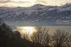 Alba sopra il lago Thun in alpi svizzere nell'inverno Fotografie Stock