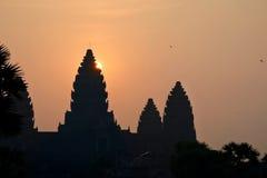 Alba sopra il tempio di Angkor Wat fotografia stock libera da diritti