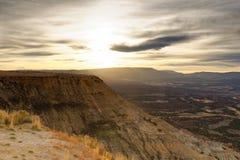 Alba sopra l'alta area a vegetazione arbustiva del deserto nel Wyoming Immagine Stock