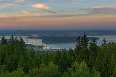 Alba sopra la città di Vancouver BC Canda Fotografia Stock