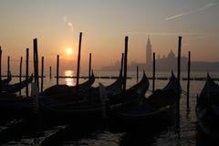 Alba sopra la laguna veneziana Fotografia Stock