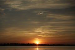 Alba sopra la spiaggia di Conimicut Fotografie Stock