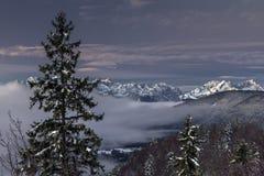 Alba sopra le alpi bavaresi Immagini Stock Libere da Diritti