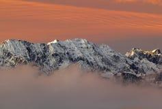 Alba sopra le alpi bavaresi Fotografia Stock Libera da Diritti