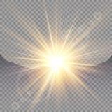 Alba sopra le montagne, alba Luce solare trasparente di vettore Effetto della luce speciale del chiarore della lente illustrazione di stock