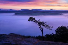 Alba sopra Misty Landscape Vista scenica del cielo nebbioso di mattina con il sol levante sopra Misty Forest Middle Summer Nature fotografia stock