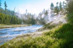 Alba sopra parco nazionale del fiume di Gibbon, Yellowstone, Wyoming, U.S.A. Fotografia Stock