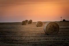 Alba sopra un campo di grano con le balle fotografia stock