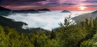 Alba sopra una valle nebbiosa Fotografia Stock