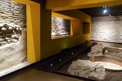 Alba sotterranea, underground archeological site in Alba Italy. ALBA, ITALY - MARCH 1, 2018: Alba sotterranea underground Alba, ancient roman and middle age Stock Photography