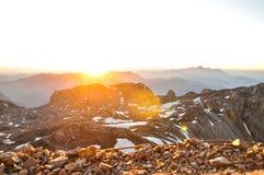 Alba spettacolare alla montagna di Hochkönig - Austria Immagine Stock Libera da Diritti