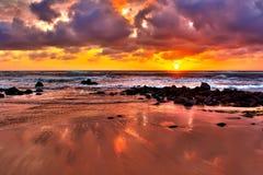 Alba spettacolare del Kauai Fotografia Stock