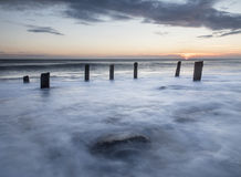 Alba, spiaggia chimica, Seaham, costa di Sunderland Immagine Stock Libera da Diritti
