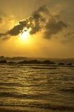 Alba in spiaggia di Galle, Sri Lanka Fotografia Stock Libera da Diritti