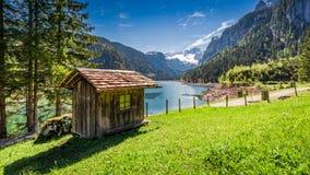 Alba strabiliante nel lago Gosausee in Gosau, alpi, Austria, Europa Fotografie Stock