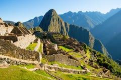 Alba su Machu Picchu, la città persa dell'inca Immagini Stock