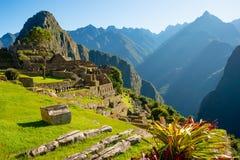 Alba su Machu Picchu, la città persa dell'inca Fotografie Stock