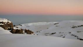 Alba sui ghiacciai alla cima del Kilimanjaro Fotografie Stock Libere da Diritti