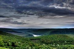 Alba sul canyon di Dnister Fotografie Stock