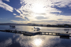 Alba sul lago il Distretto di Rotorua, Nuova Zelanda Immagine Stock Libera da Diritti