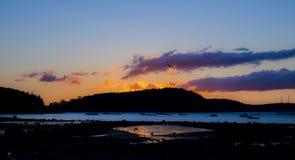 Alba sull'isola di Antivari al parco nazionale di acadia Immagini Stock