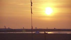 Alba sulla riva del mare, davanti ad un ciottolo in cui la gente passa vicino archivi video