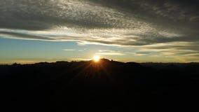 Alba sulle Ande, rifugio della montagna del rhigh di Otto Melin Immagine Stock