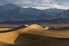 Alba sulle dune di sabbia piane del Mesquite Fotografie Stock Libere da Diritti