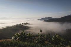 Alba in Tailandia del Nord con un Se nebbioso delle colline e del paesaggio fotografia stock