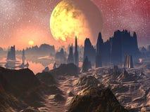 Alba/tramonto sopra il paesaggio straniero illustrazione vettoriale