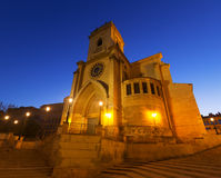 Albacete Cathedral   in evening Stock Photos