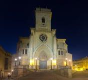 Albacete Cathedral  in night. Castile-La Mancha, Spain Stock Photos