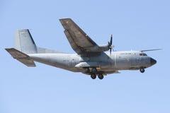 ALBACETE HISZPANIA, KWIECIEŃ, - 11: Militarny myśliwiec podczas demonstraci w Albacete bazie powietrznej, Los Llanos na Kwietniu 1 Obraz Stock