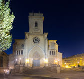 Albacete in night. Albacete Cathedral   in night. Castile-La Mancha, Spain Royalty Free Stock Photo